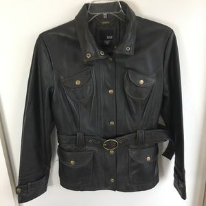 A.N.A. A New Approach Genuine Black Leather Coat L